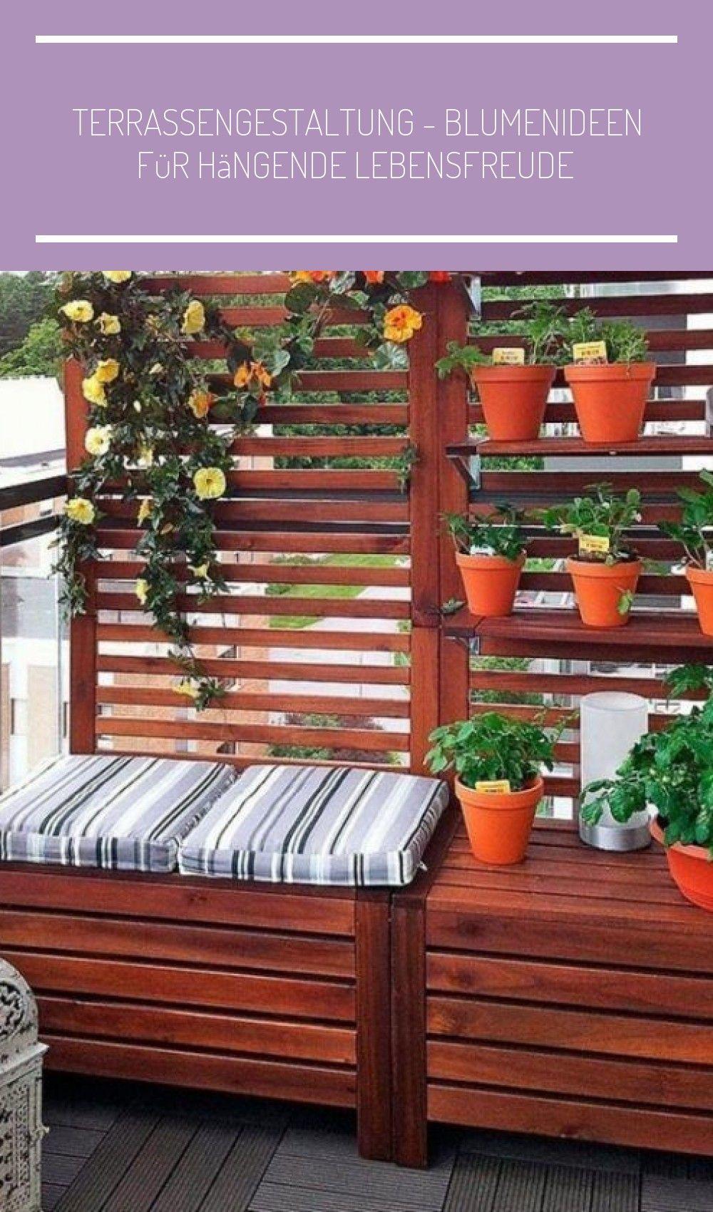 Balkon Gestaltung Sichtschutz Sitzbank Einem Pflanzen Balkon