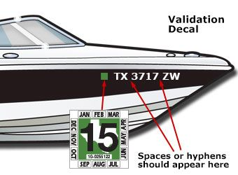 Displaying The Registration Number And Validation Decals Texasboatinglicense Study Guide For Onlineboatingsafety Cour Boat Stickers Registration Decals