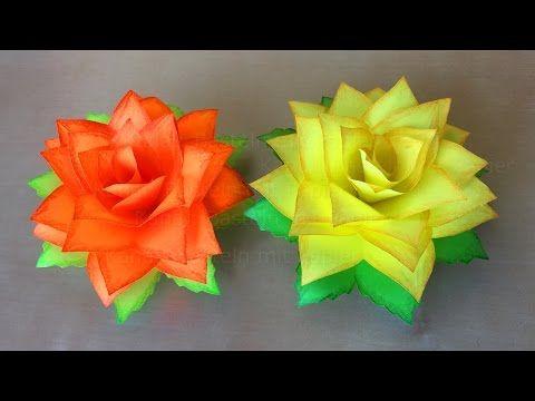faire une rose en papier fleur en papier bricolage facile a faire a la maison f te des. Black Bedroom Furniture Sets. Home Design Ideas
