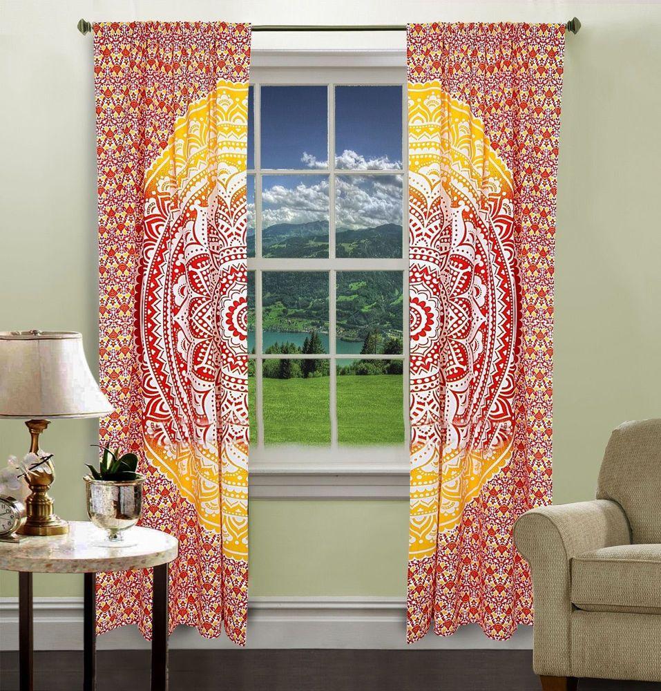 Home & Garden Yellow Ombra Mandala Window Curtains Drape Balcony Room Decor Curtain Valances High Quality Goods