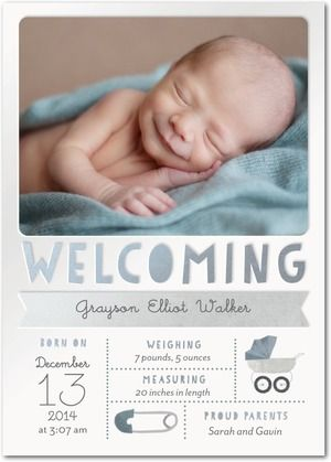 Welcoming Bliss Boy Birth Announcements Petite Alma Ore Gray - Baby arrival announcement