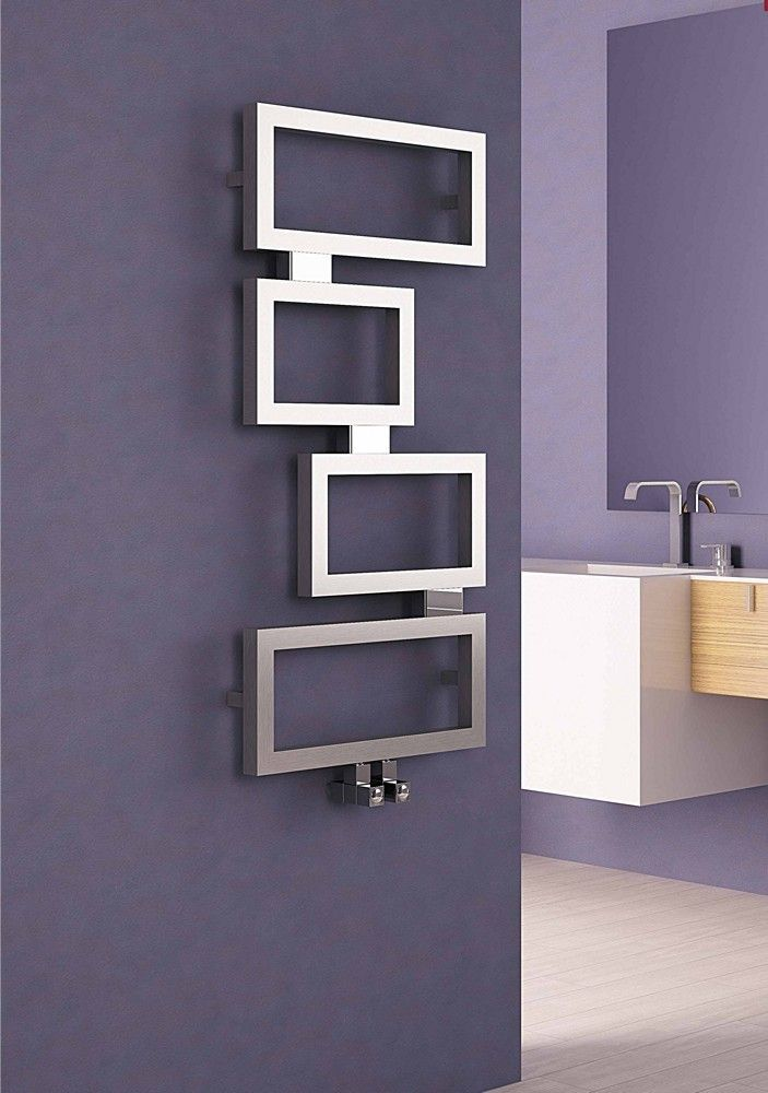 Carisa Clash Stainless Steel Designer Heated Towel Rail 920mm X 450mm Towel Rail Home Radiators Bathroom Radiators