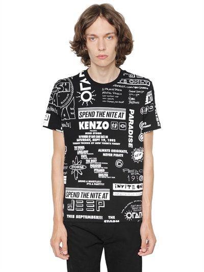 Kenzo · KENZO Flyer Print Cotton Jersey T-Shirt ...