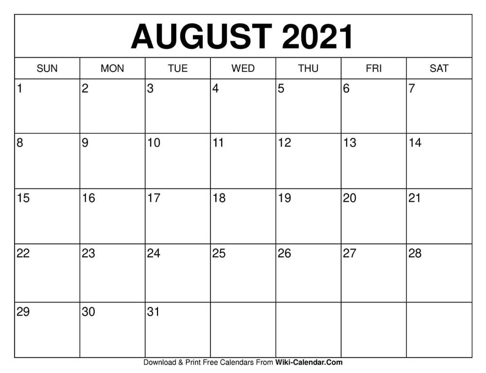 August 2021 Calendar Wallpaper Free Printable August 2020 Calendars in 2020 | Free calendars to