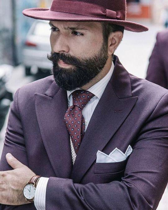 63f38639e18c0 Mens Stylish Burgundy Fedora with Plum Suit + Necktie