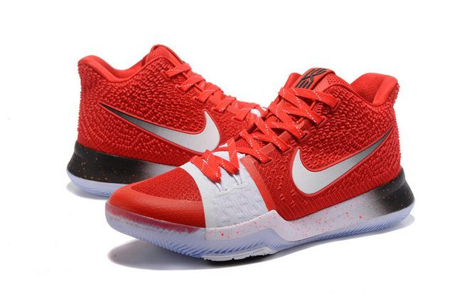 2017-2018 Newest And Cheapest OHIO STATE University Red Metallic Silver  Kyrie 3 III