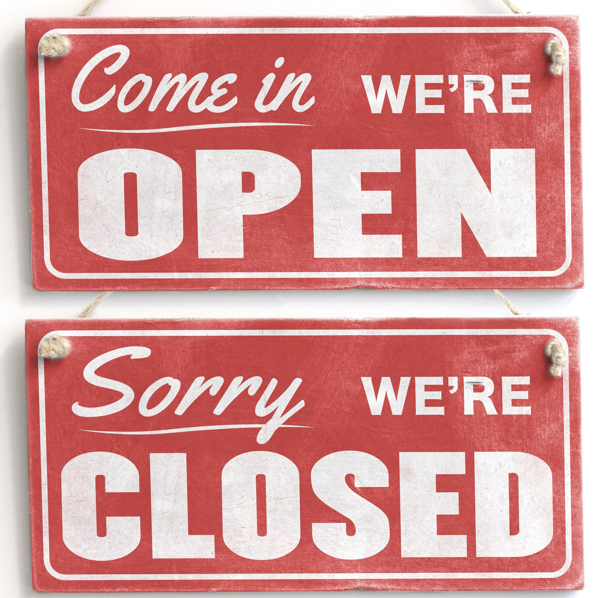 Come In We're Open / Sorry We're Closed Retro Handmade