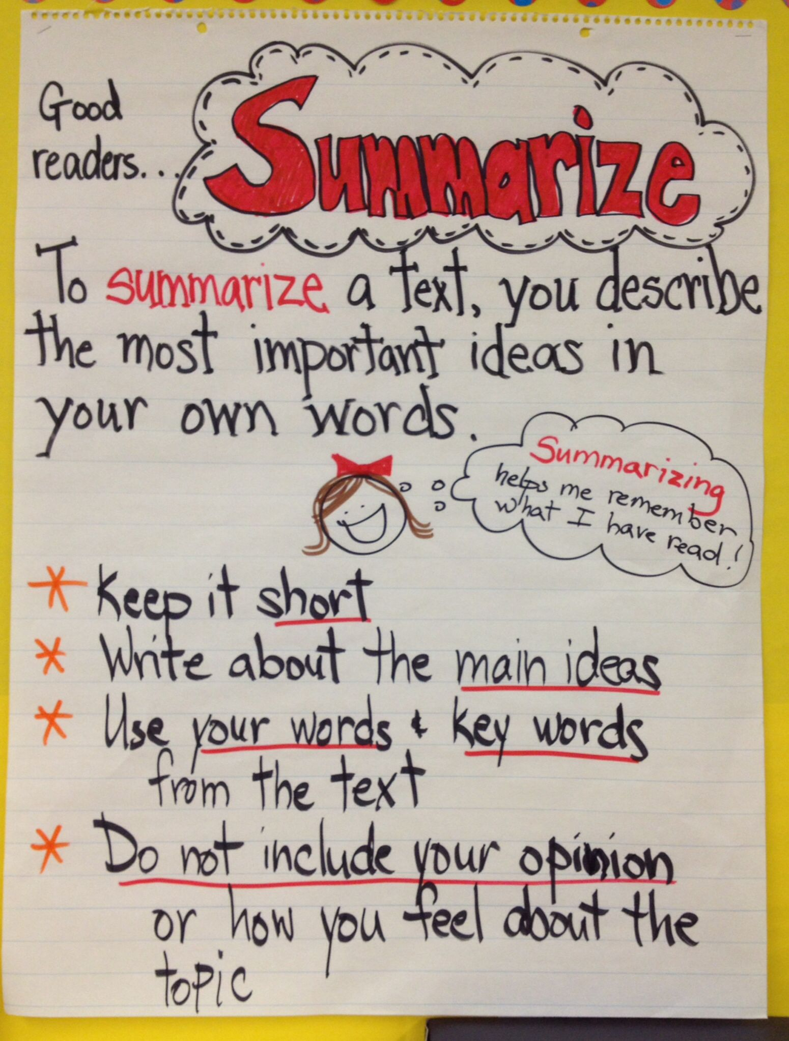 Anchor Chart Summarizing