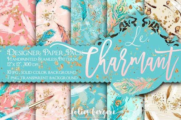 Peacock Feather Digital Paper Pack by Folies Bergere on @creativemarket