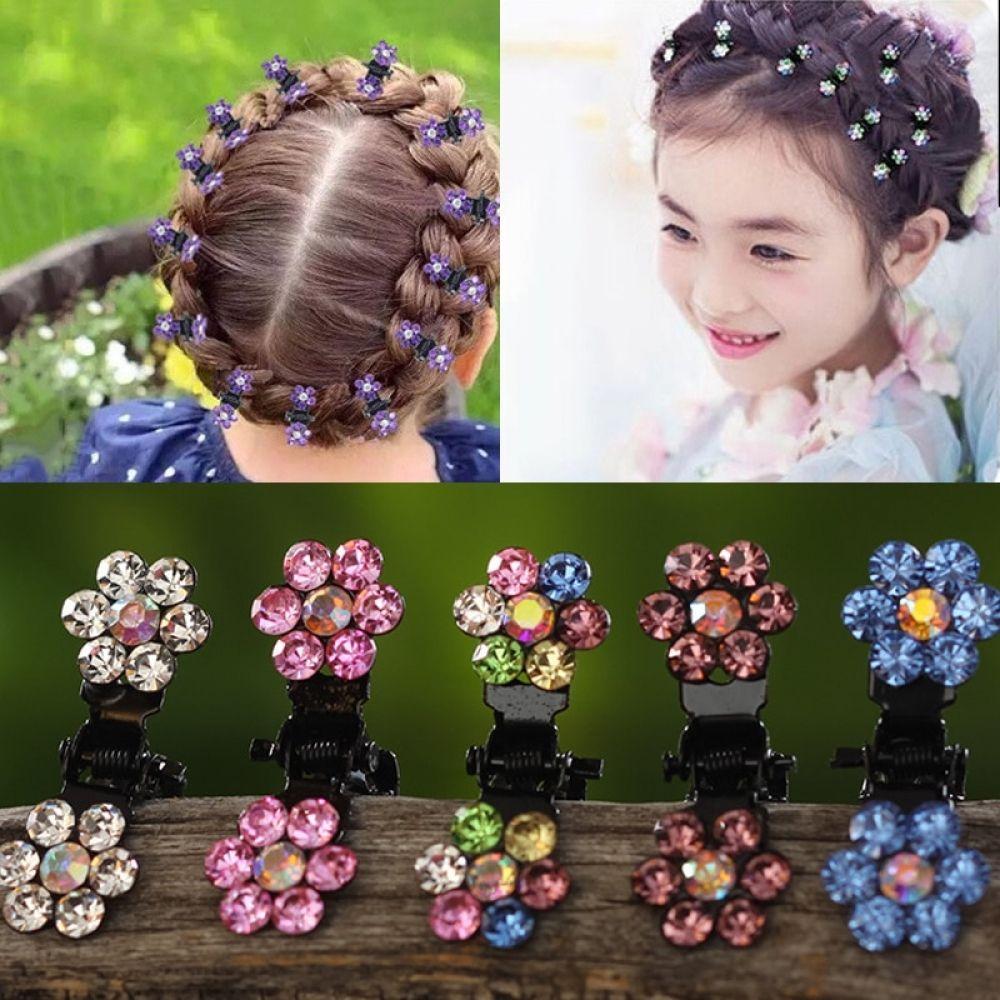 Hair Clip 12PCS Girls Crystal Flowers Metal Hair Claws Children Mini Rhinestone