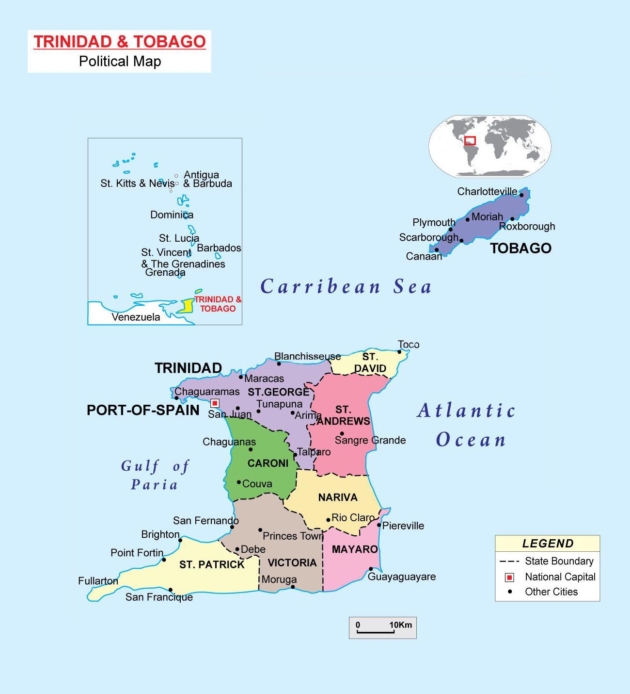 Mapas Geograficos De Trinidad E Tobago Trinidad And Tobago