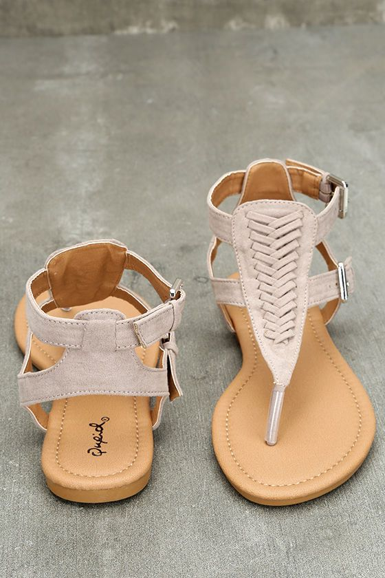 ba440cb30231a5 Draya Taupe Suede Flat Sandals