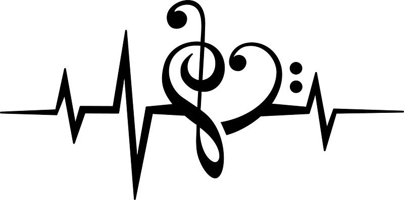 MUSIC HEART PULSE, Love, Music, Bass Clef, Treble Clef