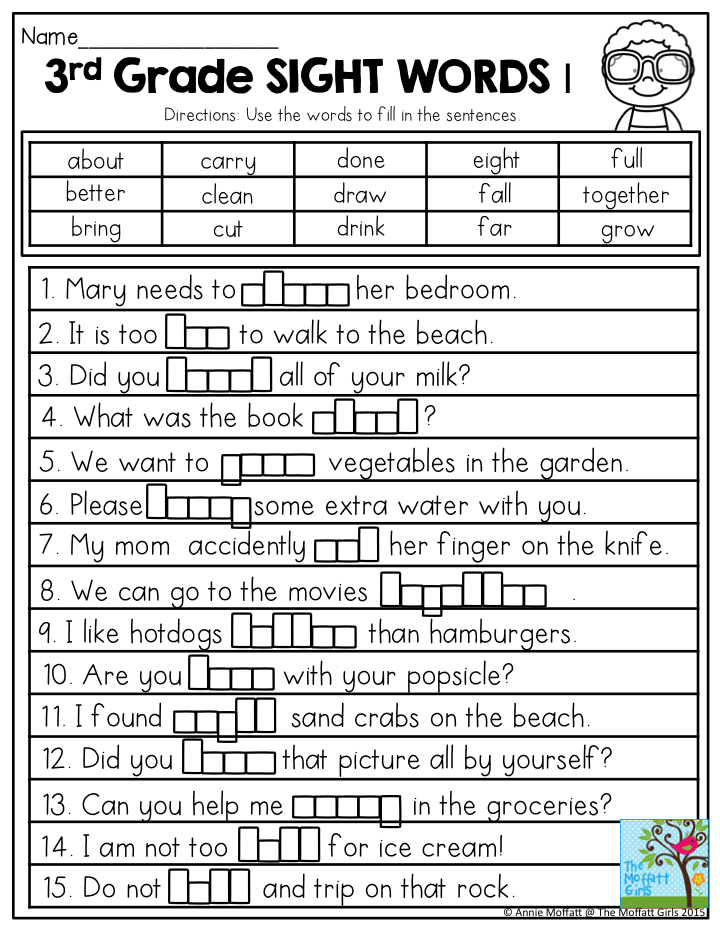 3rd Grade Sight Words Use the words in the word bank to