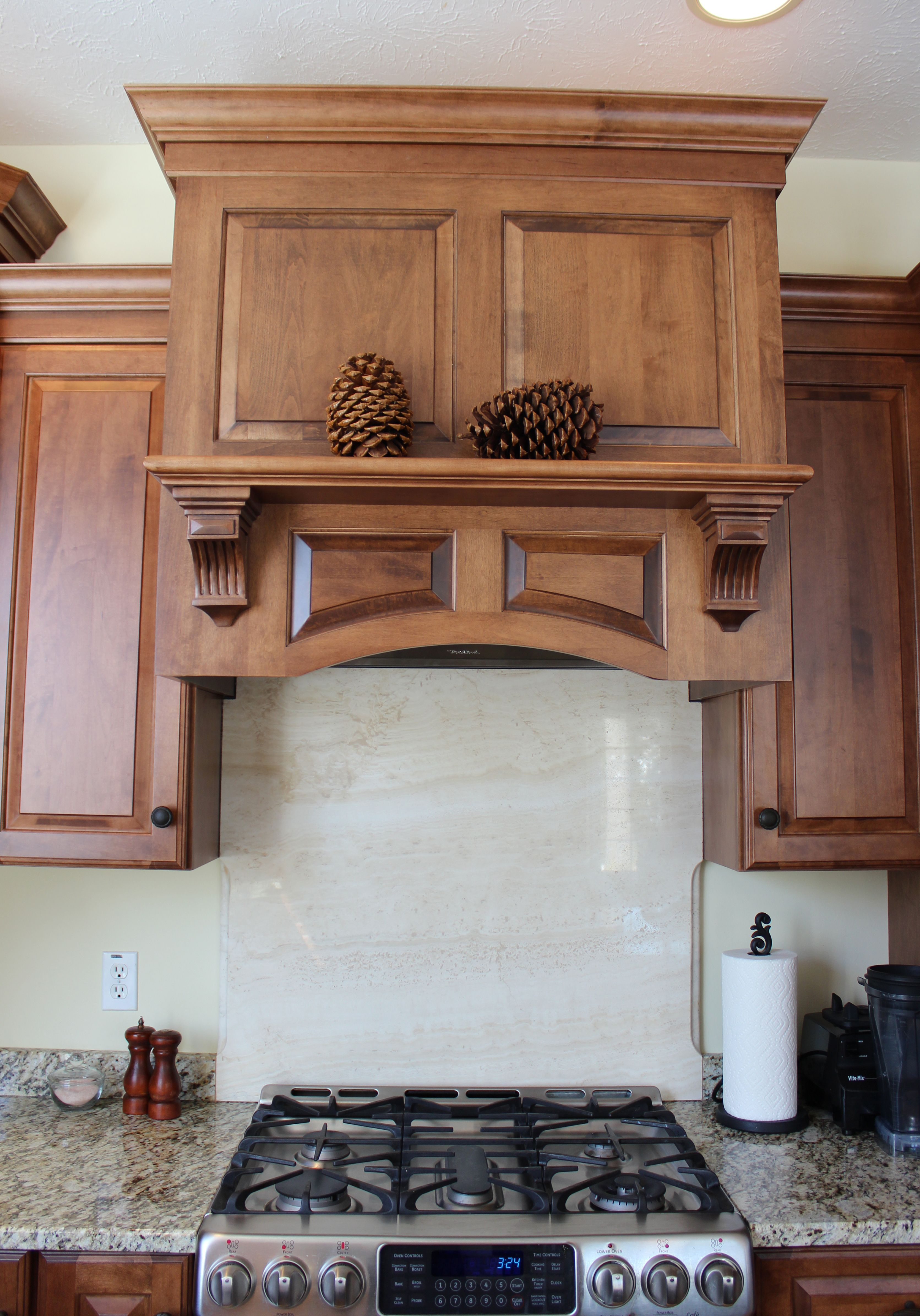 Maple crown molding kitchen cabinets - Medallion Gold Maple Amaretto Cabinets In The Brookhill Door Style With Matching Hood And Crown Molding