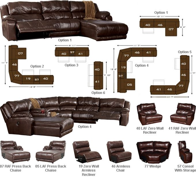 Ashley Braxton Six Piece Reclining Sectional Leather Match Upholstery In Offers The