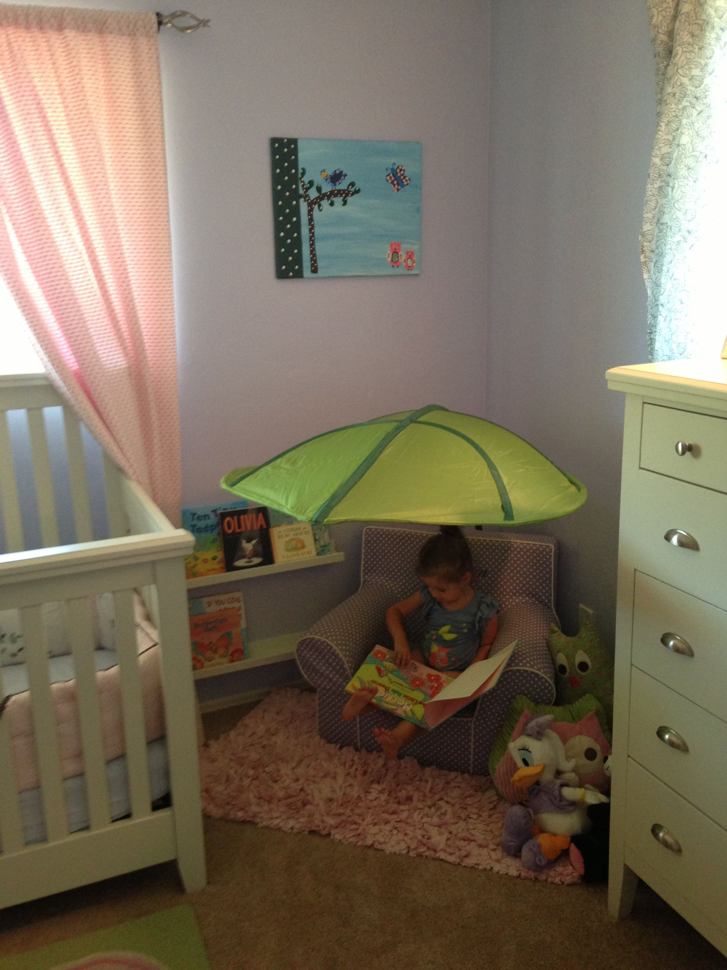 New reading corner! Leaf canopy and shelves from ikea ;)