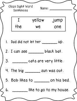cloze sight word sentences pre primer great comprehension and dolch sight word