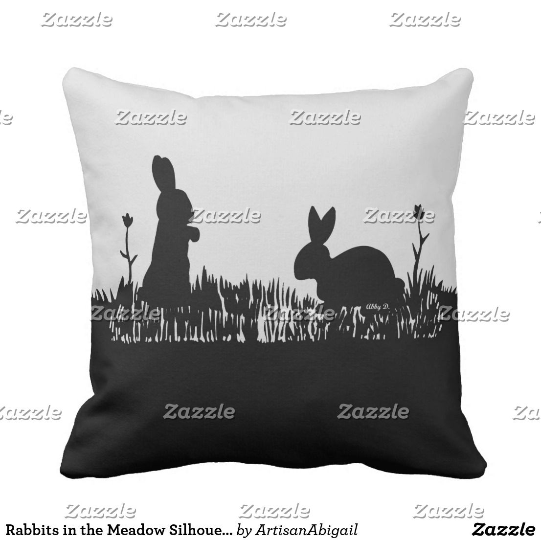 Rabbits In The Meadow Silhouette Pillow