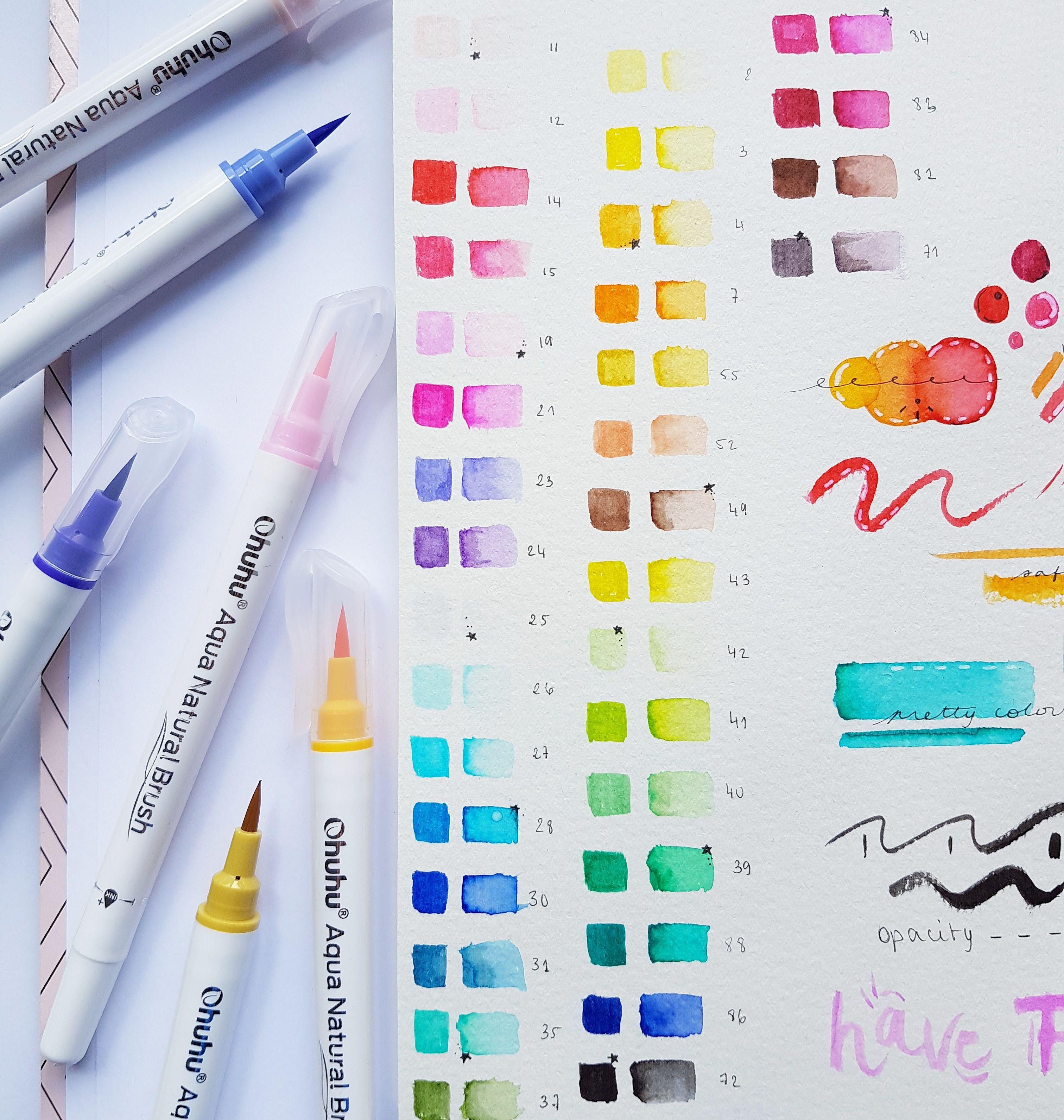 Swatch Mix And Explore Ohuhu Upgraded Watercolor Brush Markers