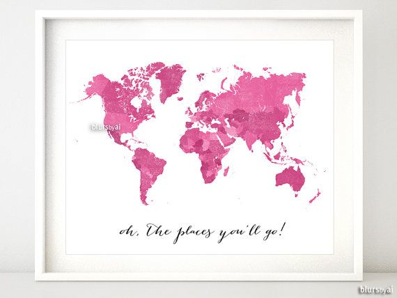 Custom quote color  size PRINTABLE world map by blursbyaiShop