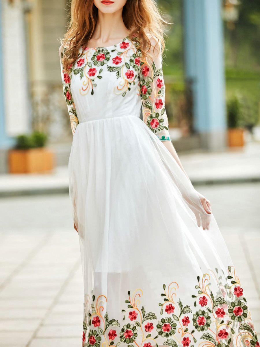 Vestido Bordado De Flores Con Tul Blanco Spanish Shein
