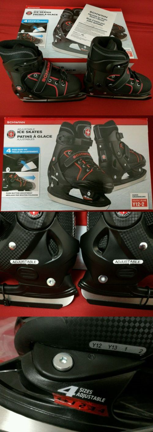 Youth 26344: New Schwinn Ice Skates Adjustable Black Red Easy Fit Stylish Size Youth 12-2 Nib BUY IT NOW ONLY: $30.0