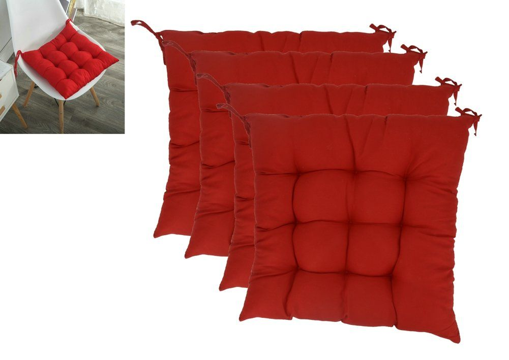 Set Of 4 Solid Square Tufted Chair Pads Indoor Outdoor Cushions Seats With Ties Red By Elfjoy Click Image For More Details This Is An Affiliat With Images Tufted Chair