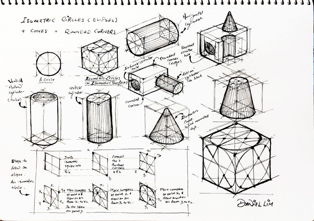 Drawing An Isometric Circle Design Journal Sos Drawing