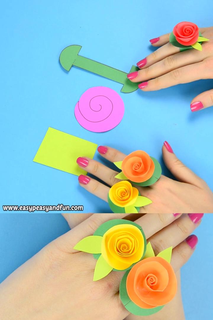 DIY Flower Paper Rings - paper flower craft