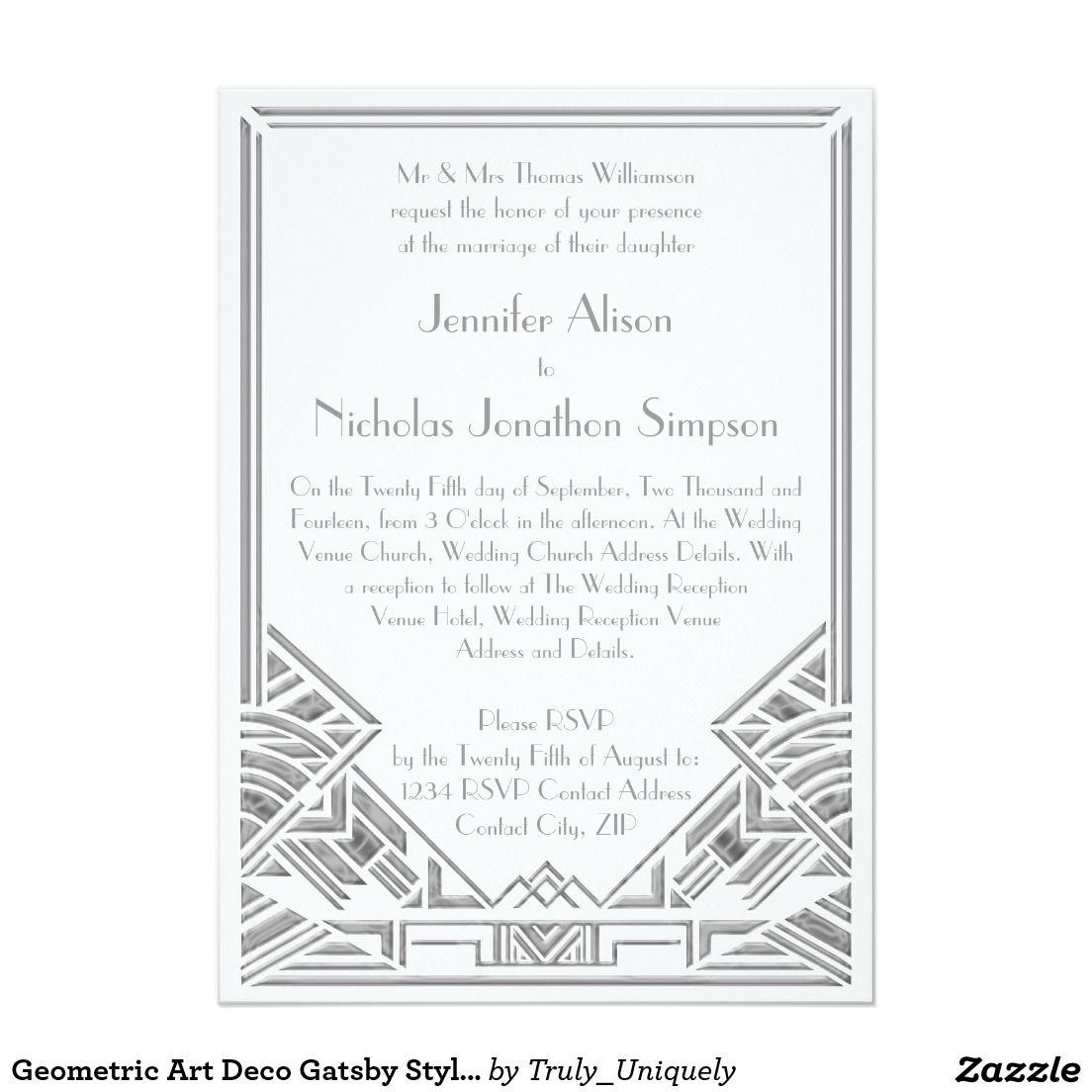 Geometric Art Deco Gatsby Style Wedding Invites | Gatsby style ...