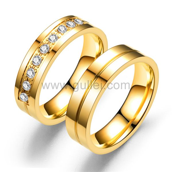 Gold Plated Antiallergic Couples Promise Rings Set