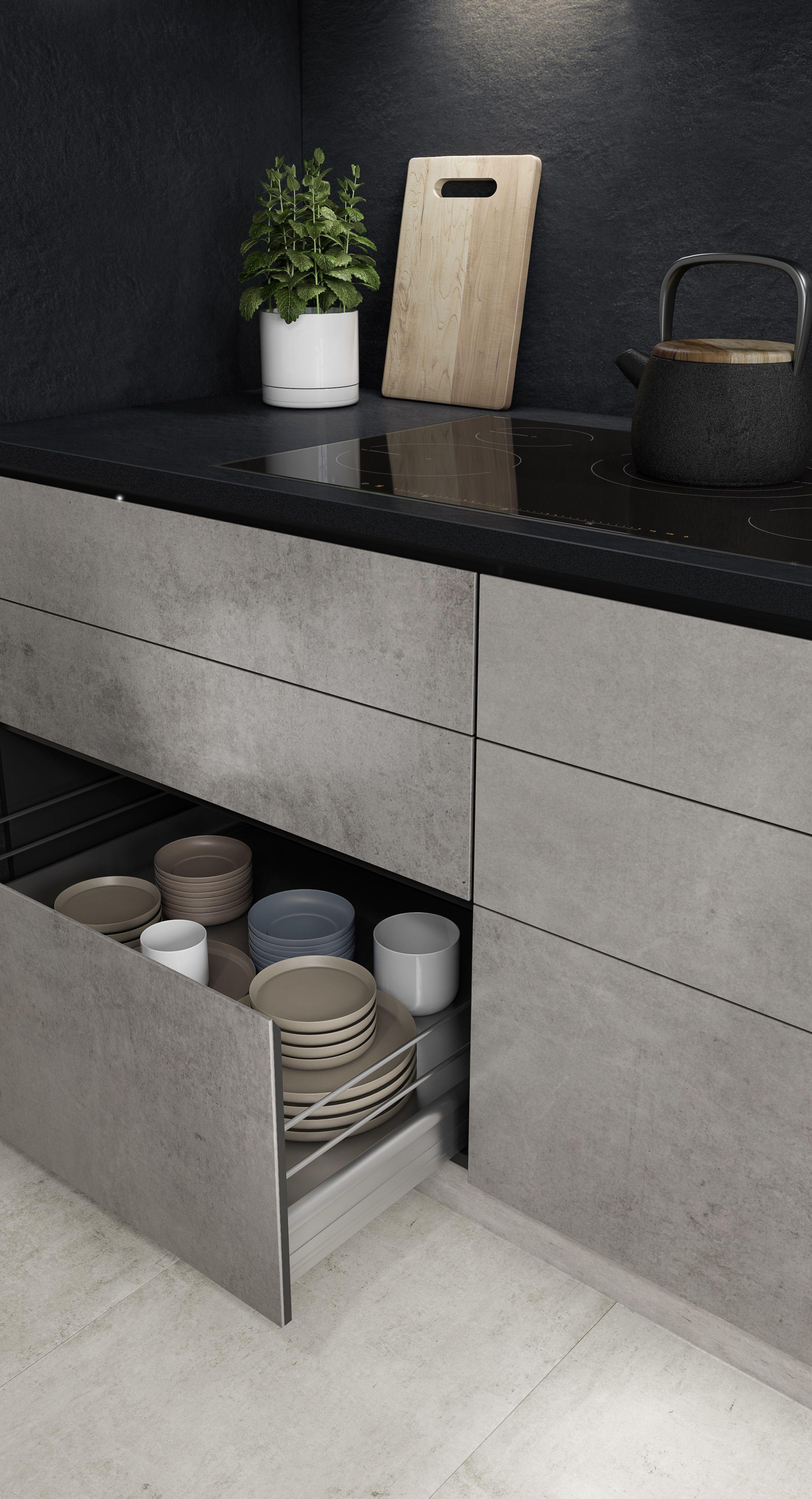 Dekton Slim by Cosentino surfaces. Dark backsplash and countertop with grey cabinets.