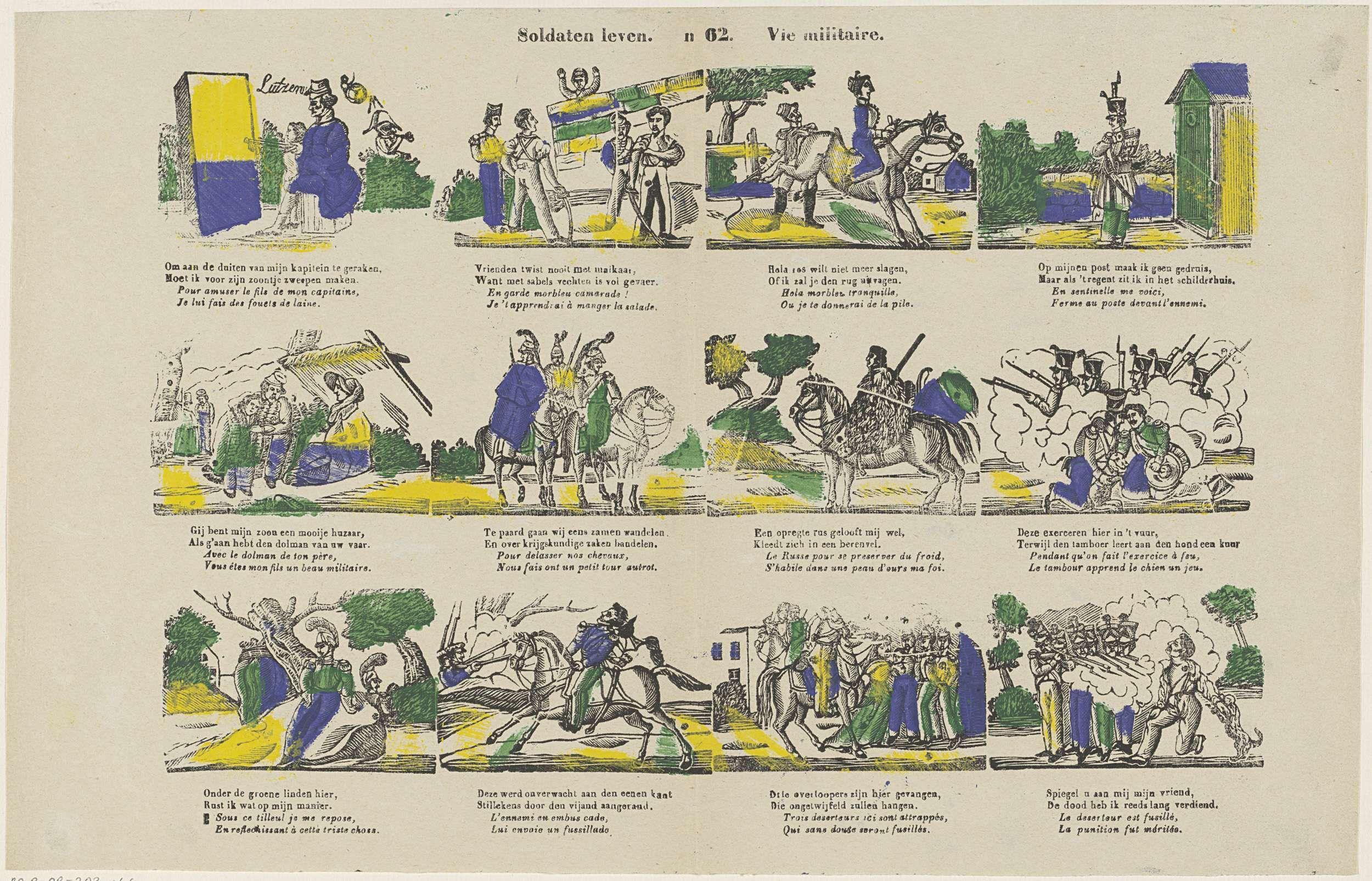 Lutzen | Soldaten leven / Vie militaire, Lutzen, Glenisson & Zonen, 1856 - 1900 | Blad met 12 voorstellingen over het leven van een militair. Onder elke afbeelding een tweeregelig vers in het Nederlands en in het Frans. Genummerd midden boven: n 62.