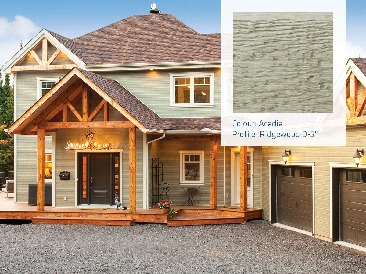 Lp Canexel Prefinished Siding Colour Acadia Is A Vibrant Stoic Colour That Reflects The Very Best Of Nature P House Exterior Exterior Siding Building A House
