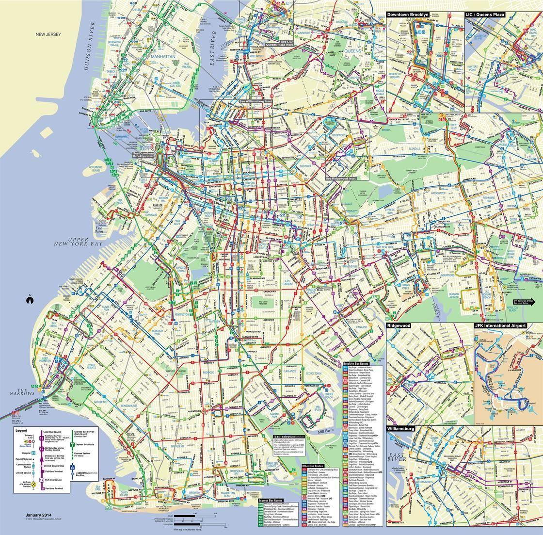 Plan Et Carte De Bus De New York Stations Et Lignes Carte De Bus Carte De Nyc Plan De Bus