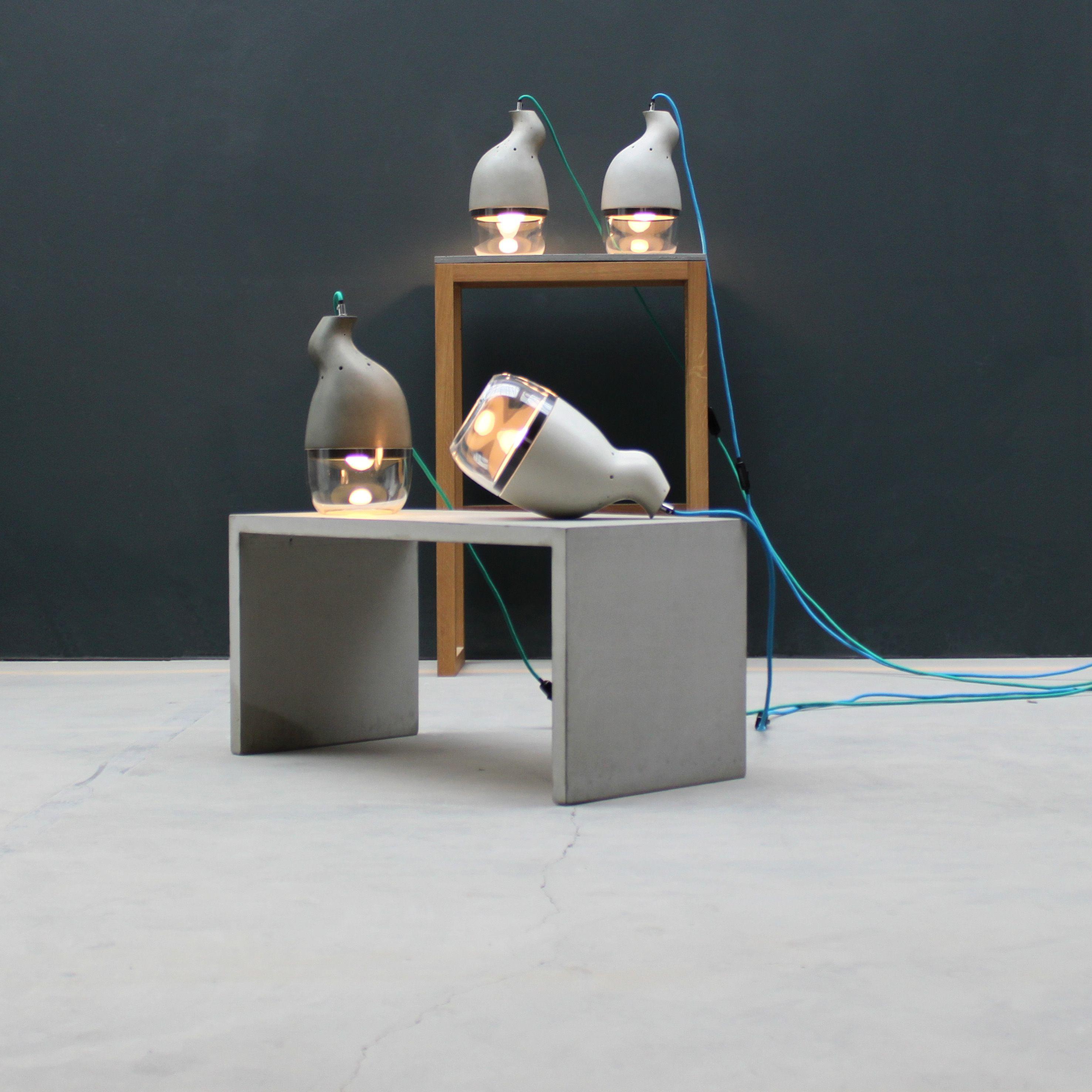 Stunning Lampe Beton Glas Licht Light Lamp Verr ckt Asymmetrisch