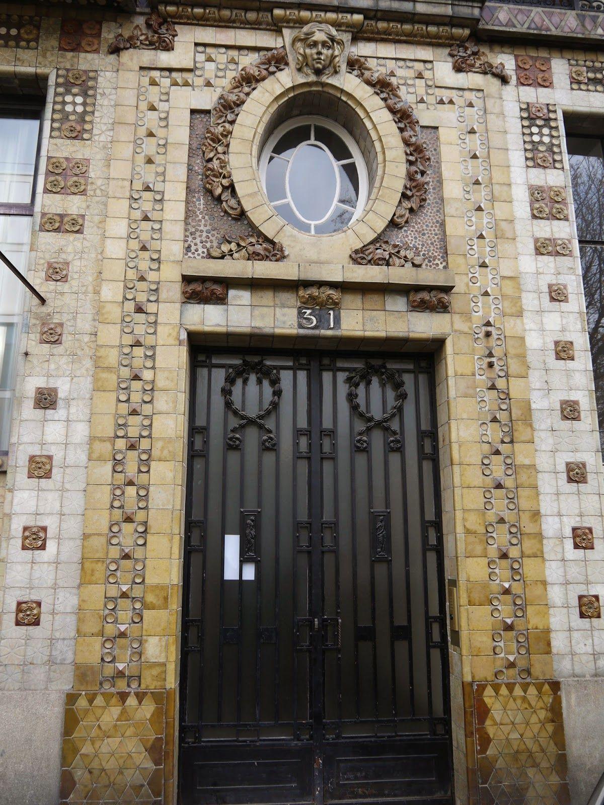 Paris entrance to art nouveau artists building rue campagne
