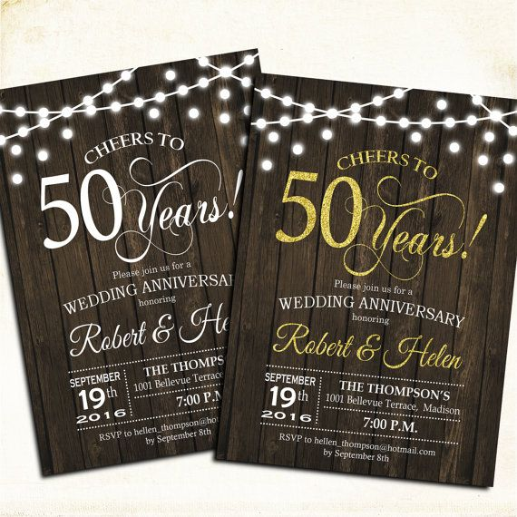 50th Wedding Anniversary Invitation Ideas: 50th Anniversary Invitation. Rustic Wood Printable
