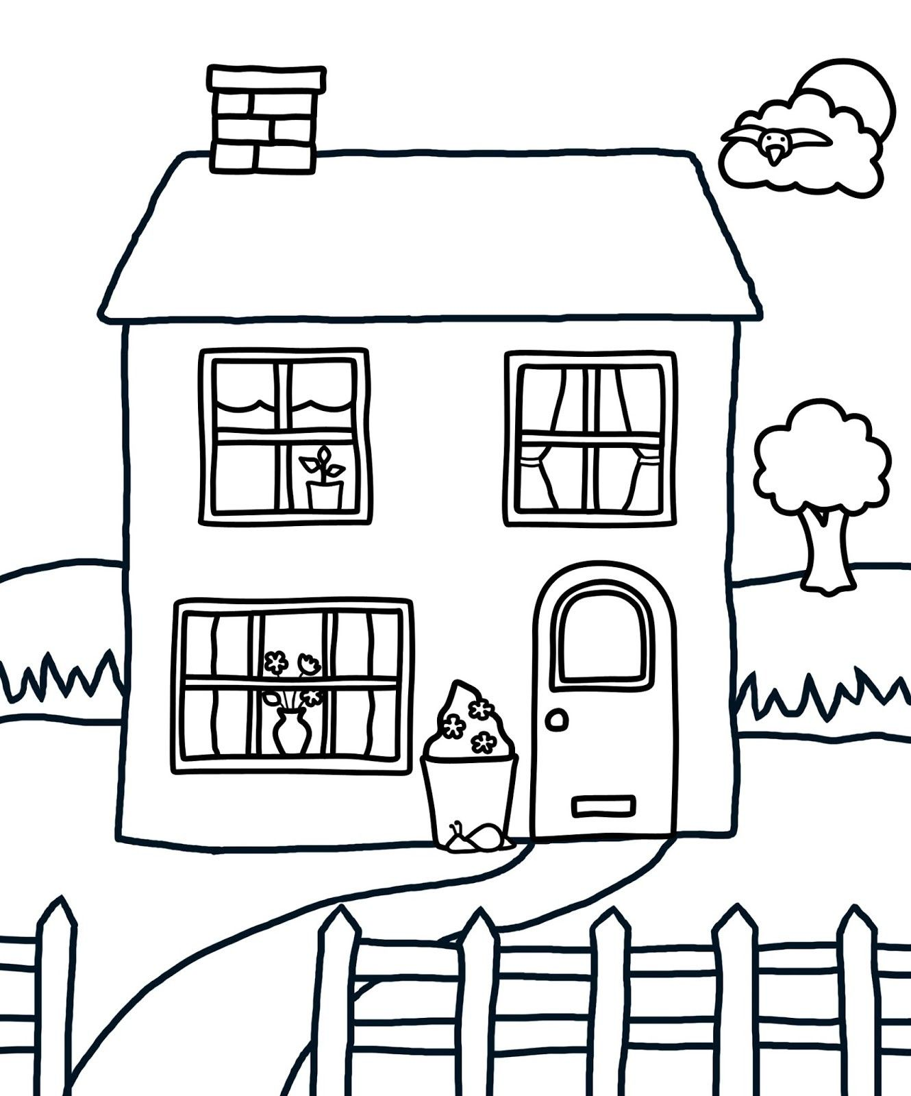 Coloring House Dream House Drawing Simple House Drawing House Drawing