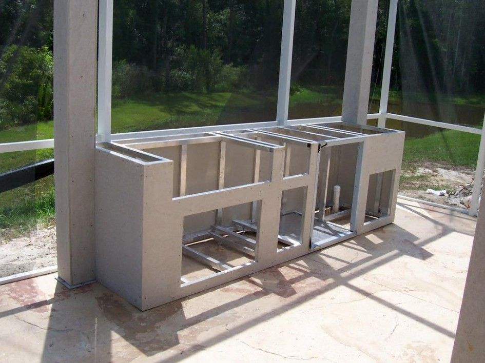Chic frames for outdoor kitchens with steel stud for Granite a frame plans