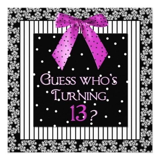 13 Year Old Girl Birthday Party Invitations