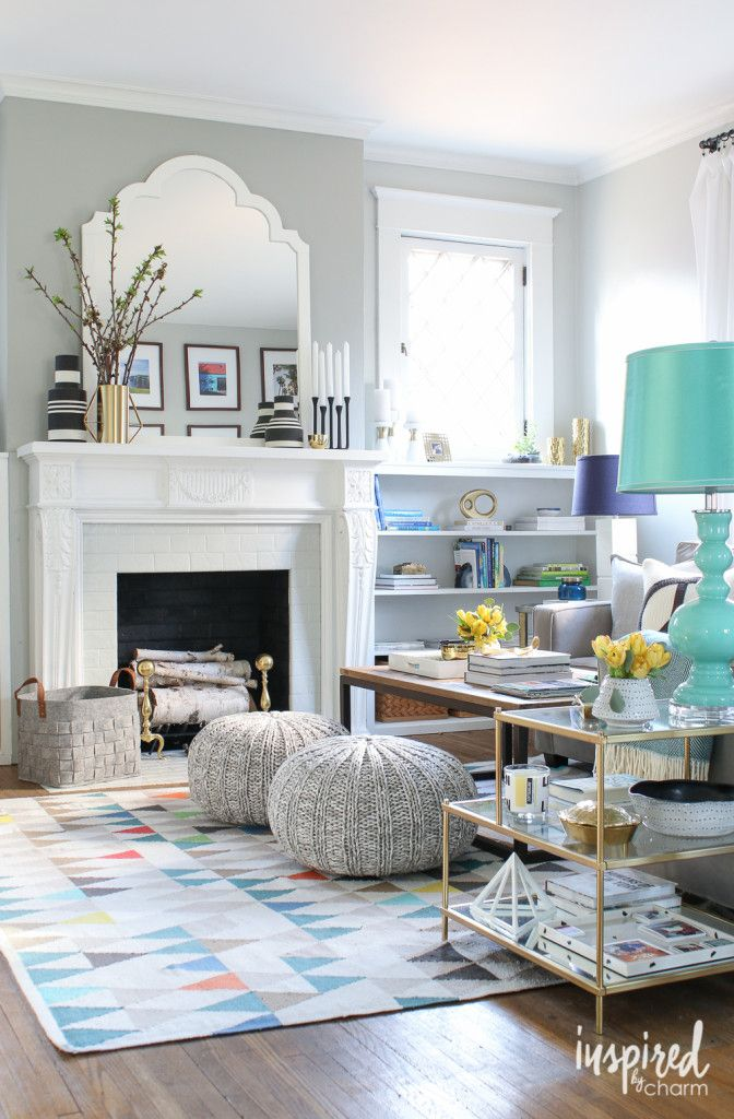 Spring Living Room Inspired By Gray And Turquoise A Hint Of Gold Via Inspiredbycharm