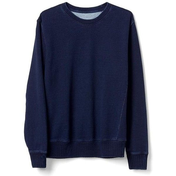 Gap Men Indigo Pullover Sweatshirt (€54) ❤ liked on Polyvore featuring men's fashion, men's clothing, men's hoodies, men's sweatshirts, dark indigo, tall, mens sweatshirts, mens crewneck sweatshirts, mens tall sweatshirts and mens crew neck sweatshirts