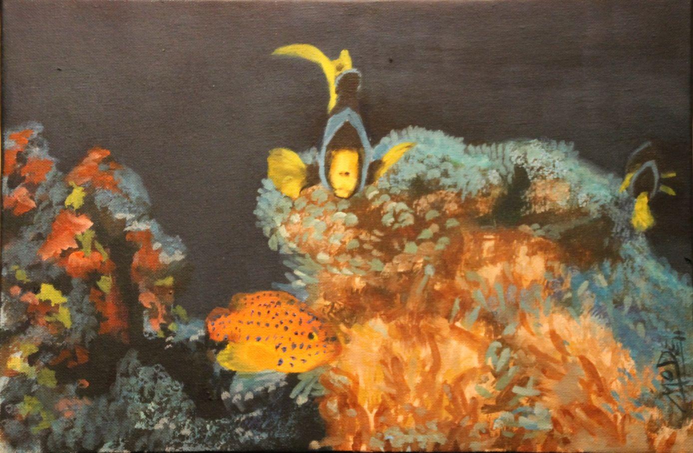 Arrecife 1. Arrecife caribeño con algunos de sus vecinos. A partir de fotografía hecha por un amigo