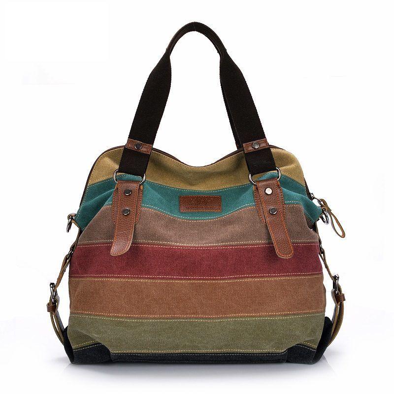 2e8cfd763457 Canvas Bag Tote Striped Women Handbags Patchwork //Price: $37.00 ...