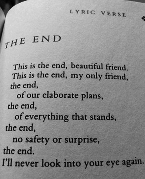 The Doors The End Words The Doors The End Lyrics