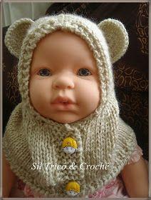 Sil Tricô  Receita   Gola capuz com botões para bebê em tricô ... af768846e16