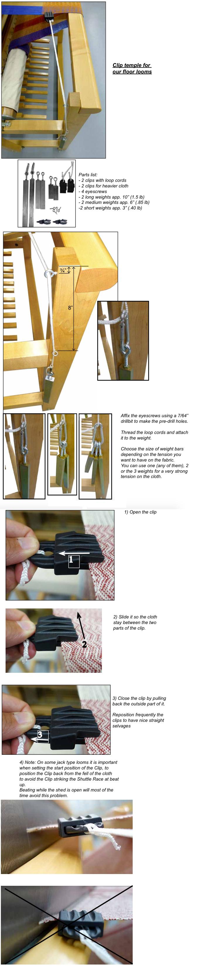 Leclerc Clip Temple Kit - Various Widths   The Woolery