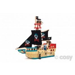 Ahoy me hearties. Set your small world pirates off on an adventure on the high seas. This pirate ship has lots of fun extras including a cannon and plank to walk and will be sure to engage boys in lots of imaginative pirate play. H48 x L50 x D19 cm. Features include rigging, a turning helm, a deck trap-door, a wind-up anchor, a rear-opening stern and a cannon. Pirates available separately (1575).